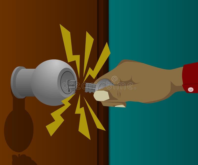 Een gebroken sleutel wanneer het openen van de deur royalty-vrije illustratie