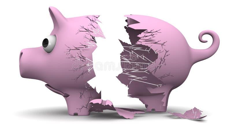 Een gebroken varkensspaarvarken vector illustratie