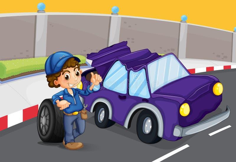 Een gebroken violette auto bij de weg royalty-vrije illustratie