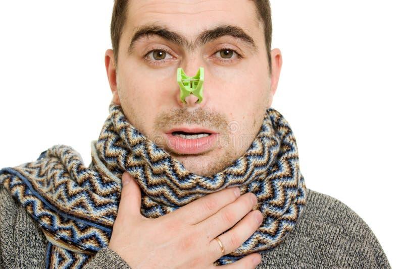 Een geduldige mens met een muffe neus royalty-vrije stock foto