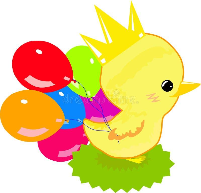 Een geel kuiken met ballons op de achtergrondkleuren vector illustratie