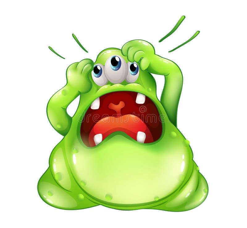 Een gefrustreerd drie-eyed monster stock illustratie