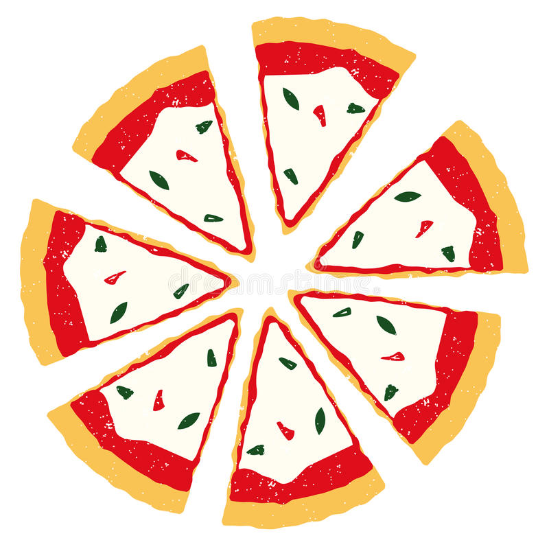 De plakken van de pizza vector illustratie