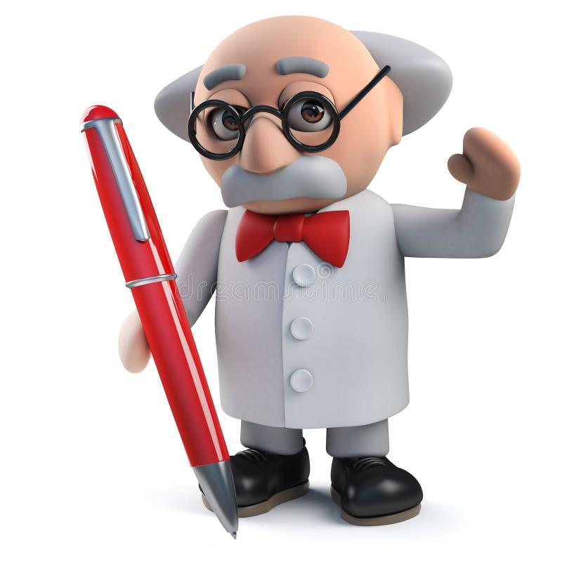 Een gekke wetenschapper die een pen in 3d houden royalty-vrije illustratie