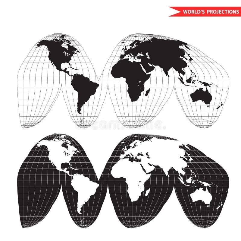 Een gekleurde vectorkaart van de wereld met netlijnen vector illustratie