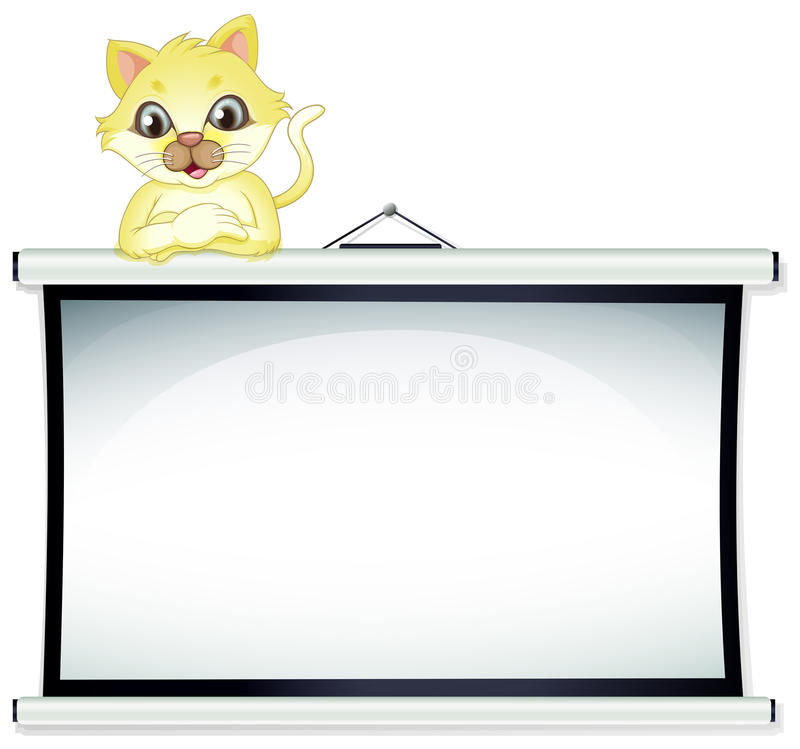 Een gele kat die over het lege prikbord leunen vector illustratie