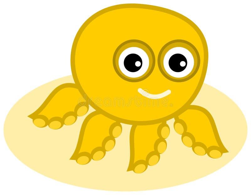 Een gele octopus op het zand stock illustratie