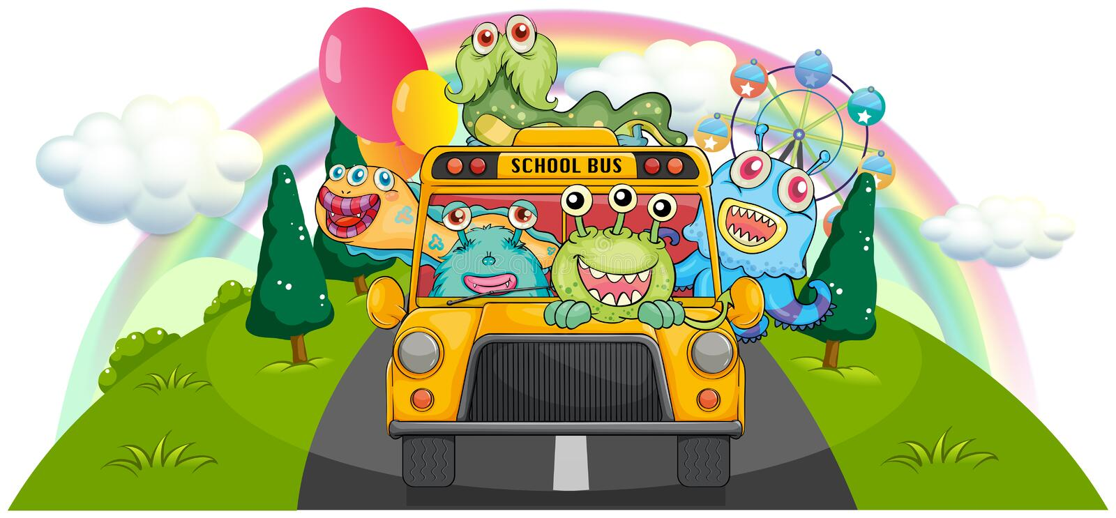 Een gele schoolbus met de enge monsters stock illustratie
