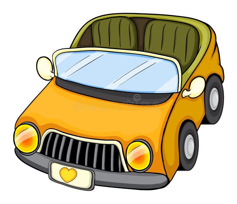 Een gele stuk speelgoed auto vector illustratie