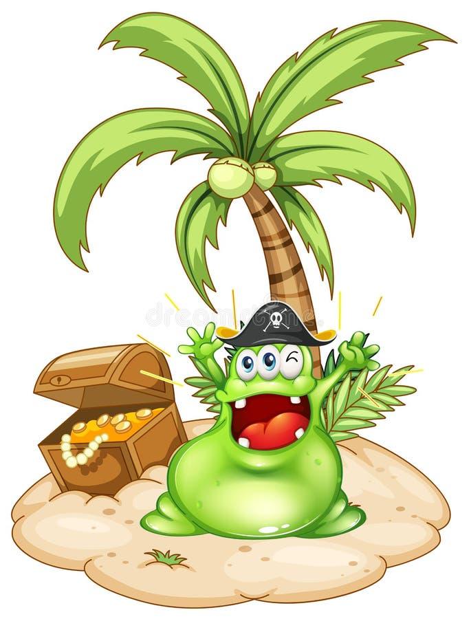 Een gelukkig groen monster in een eiland vector illustratie