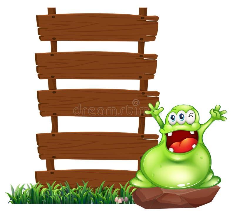 Een gelukkig monster boven de rots royalty-vrije illustratie
