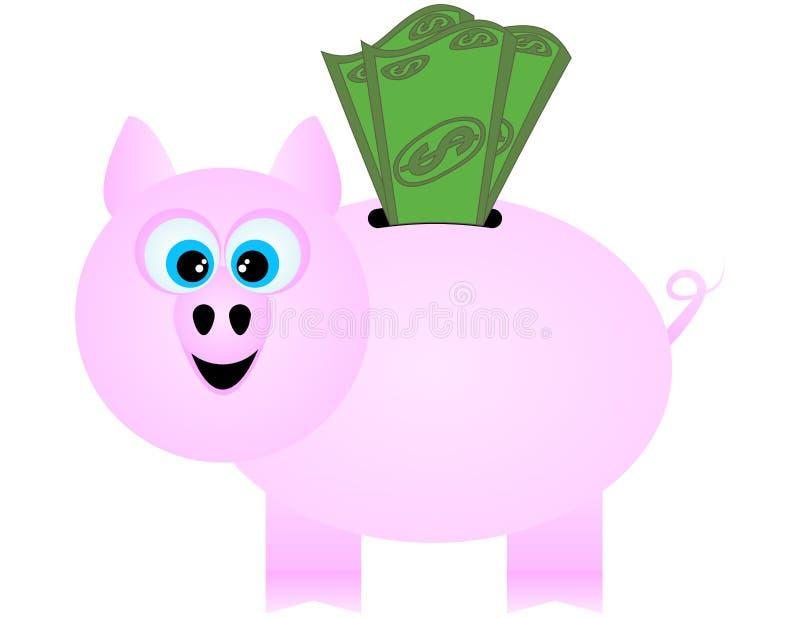 Een gelukkig Spaarvarken dat de Rekeningen van de Dollar ontvangt royalty-vrije illustratie