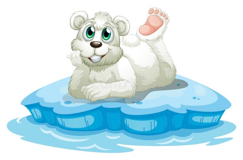 Een gelukkige beer boven de ijsberg stock illustratie