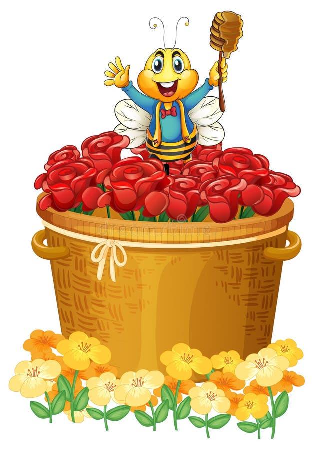 Een gelukkige bij boven de mand van bloemen vector illustratie