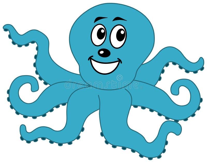 Een gelukkige blauwe octopus royalty-vrije illustratie