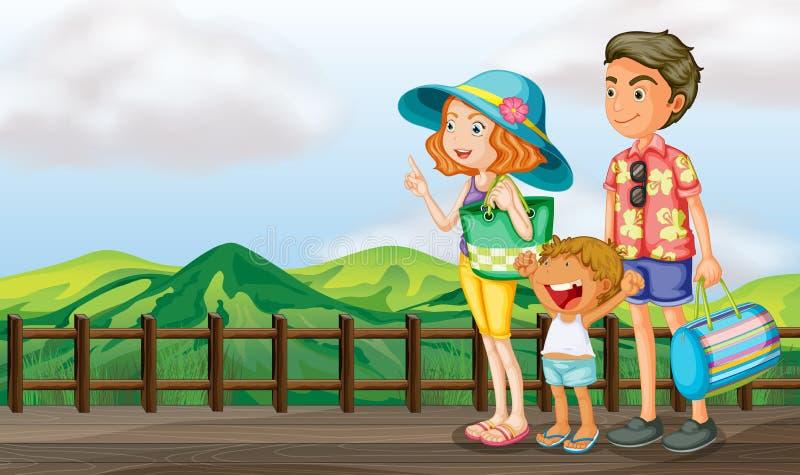 Een gelukkige familie bij de houten brug stock illustratie