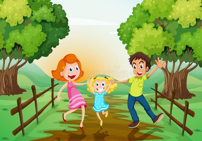 Een gelukkige familie bij het hout vector illustratie