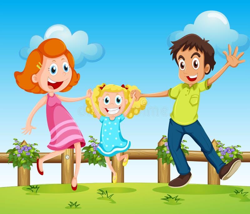 Een gelukkige familie boven de heuvels met een omheining royalty-vrije illustratie