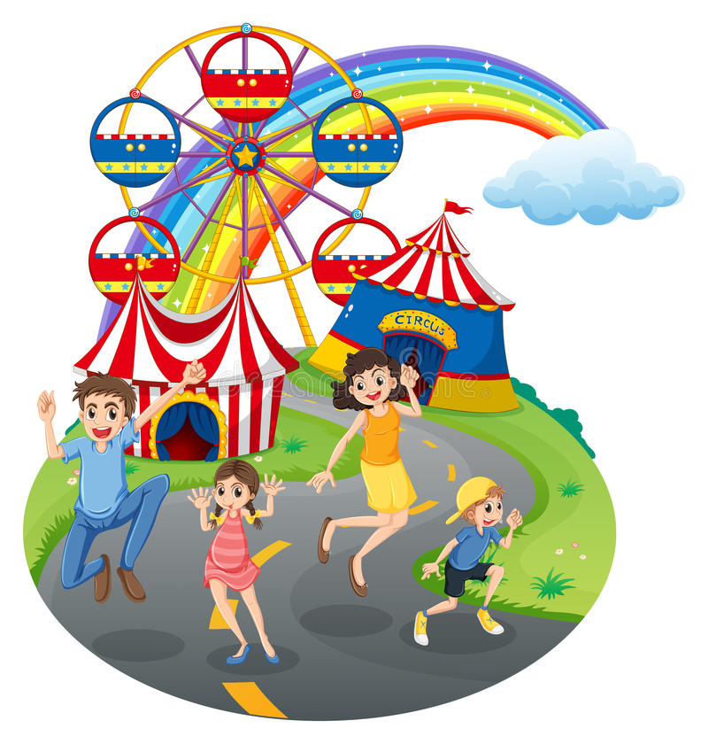 Een gelukkige familie in Carnaval stock illustratie