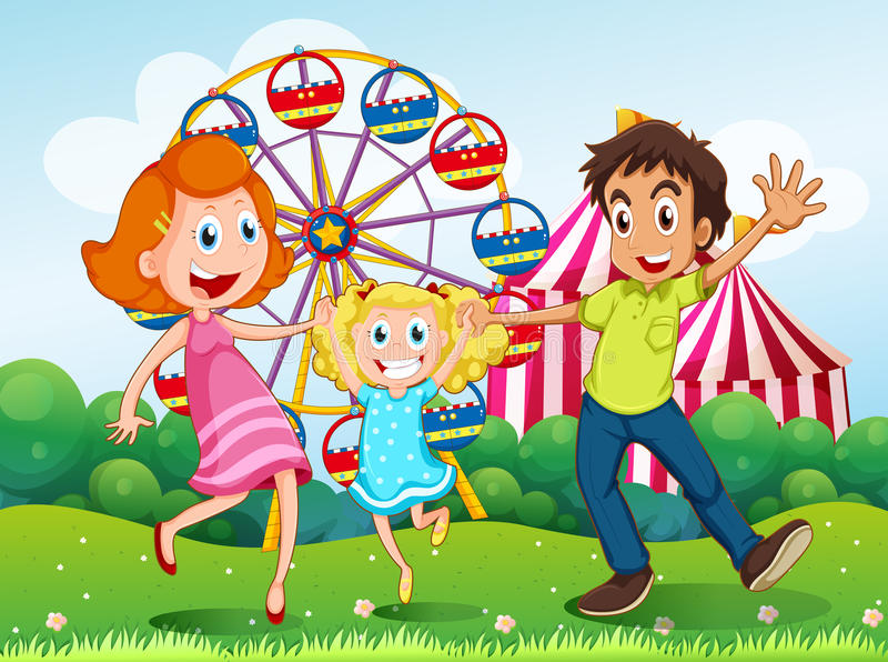 Een gelukkige familie in Carnaval in de heuveltop royalty-vrije illustratie
