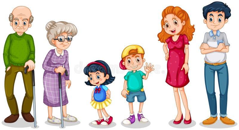 Een gelukkige familie met hun grootouders royalty-vrije illustratie
