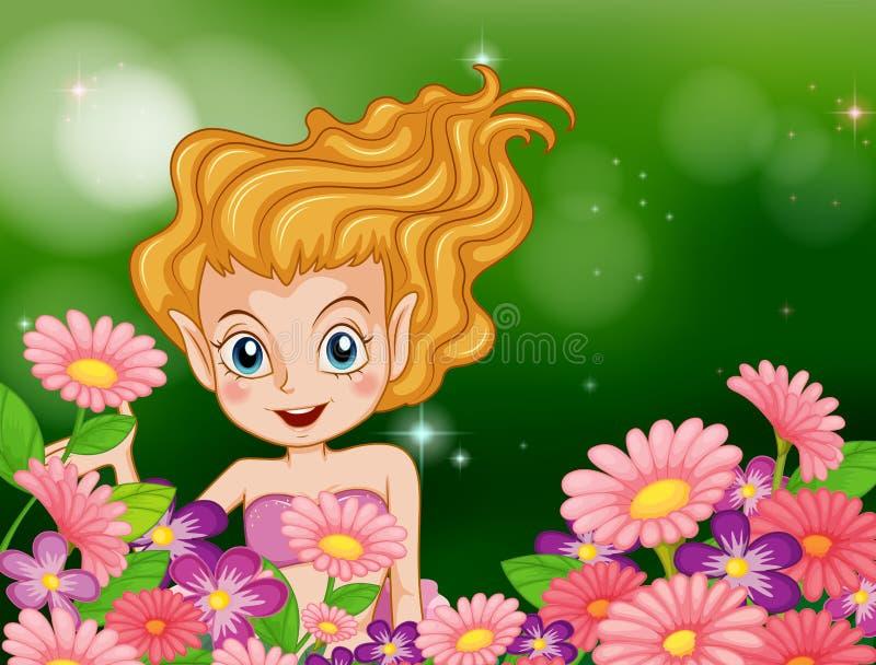 Een gelukkige fee bij de tuin met kleurrijke bloemen royalty-vrije illustratie