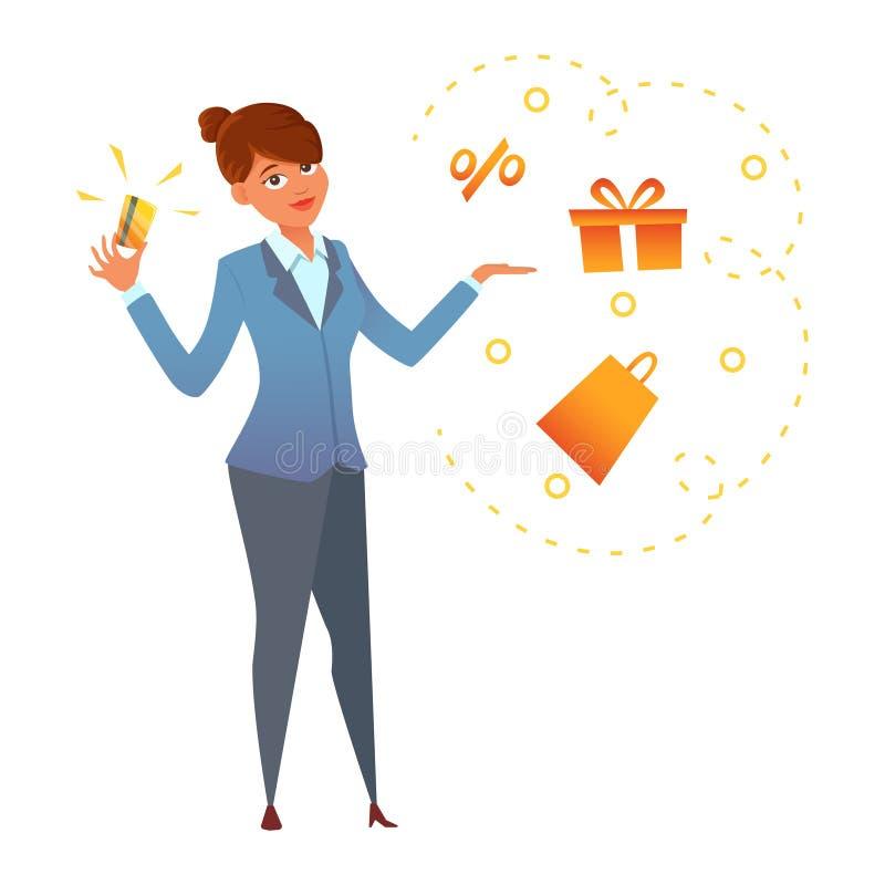 Een gelukkige jonge vrouw die een gouden creditcard in hand houden Beeldverhaalkarakter desingn Vector illustratie royalty-vrije illustratie