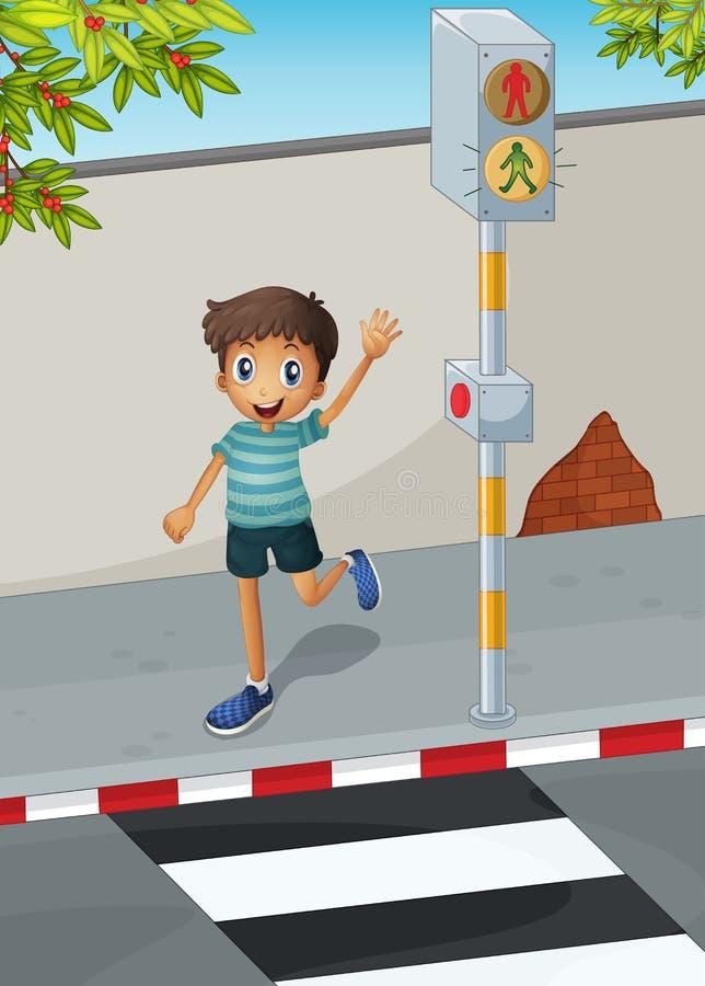 Een gelukkige jongen die zijn hand golven dichtbij de voetsteeg vector illustratie