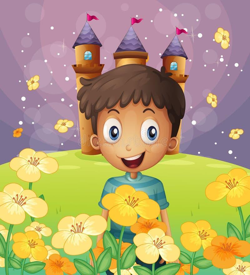Een gelukkige jongen voor het kasteel bij de heuveltop royalty-vrije illustratie