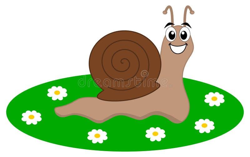 Een gelukkige slak in een tuin vector illustratie