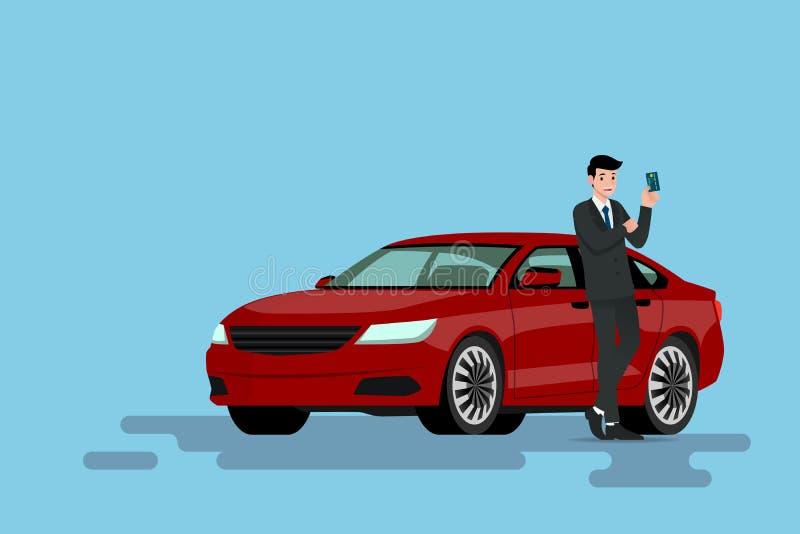Een gelukkige zakenman leunt op zijn nieuwe auto en het tonen van zijn creditcard hij waargebruikt aan kocht het voertuig vector illustratie