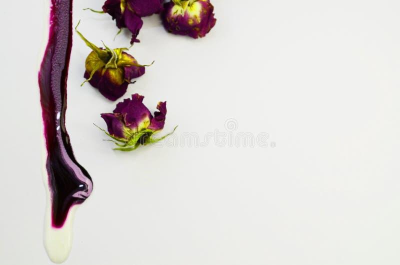 Een gemorste violette verf, mooie droge rozen royalty-vrije stock afbeeldingen