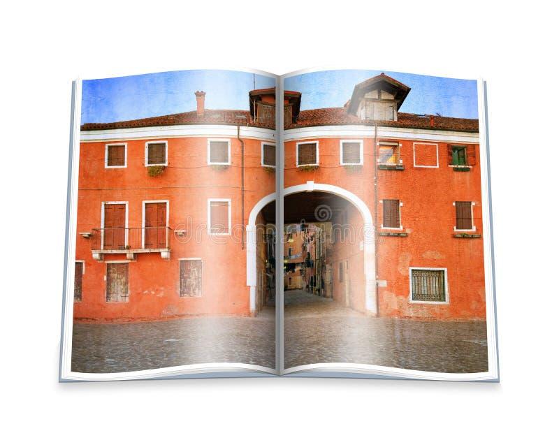 Een geopend boek met een beeld Oude Venetiaanse werf, Italië. royalty-vrije stock foto