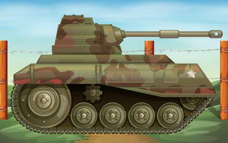 Een gepantserde tank bij het slagveld vector illustratie