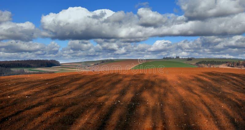 Een geploegd land met in de schaduw gestelde bomen en een agrarisch landschap van de lente royalty-vrije stock fotografie