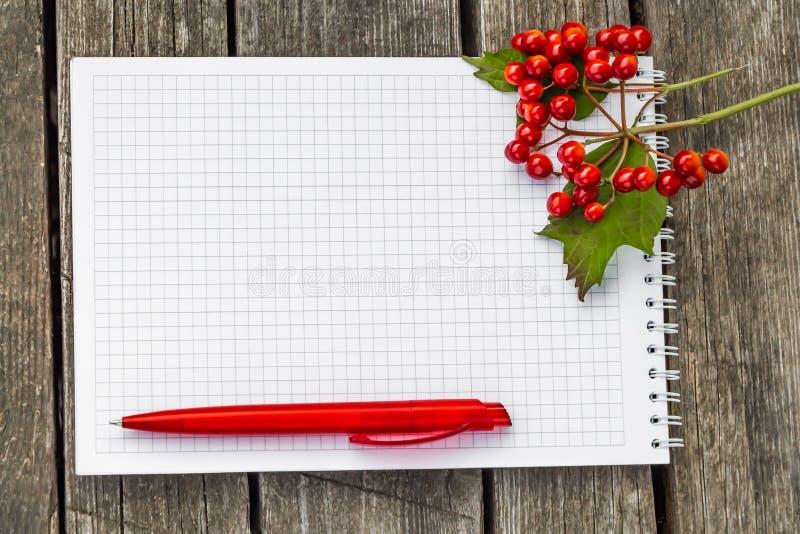 Een geregelde document blocnote met de witte lente met een rode ballpointpen ligt op een ruwe oude grijze houten oppervlakte en h stock afbeeldingen