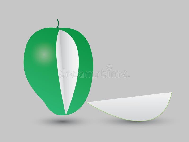 Een gesneden verse groene mangovector stock illustratie