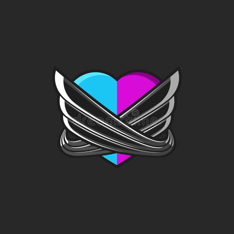 Een gestileerd hart die uit de twee verenigde helften roze en blauwe die harten bestaan door abstracte engelenvleugels worden omr royalty-vrije illustratie