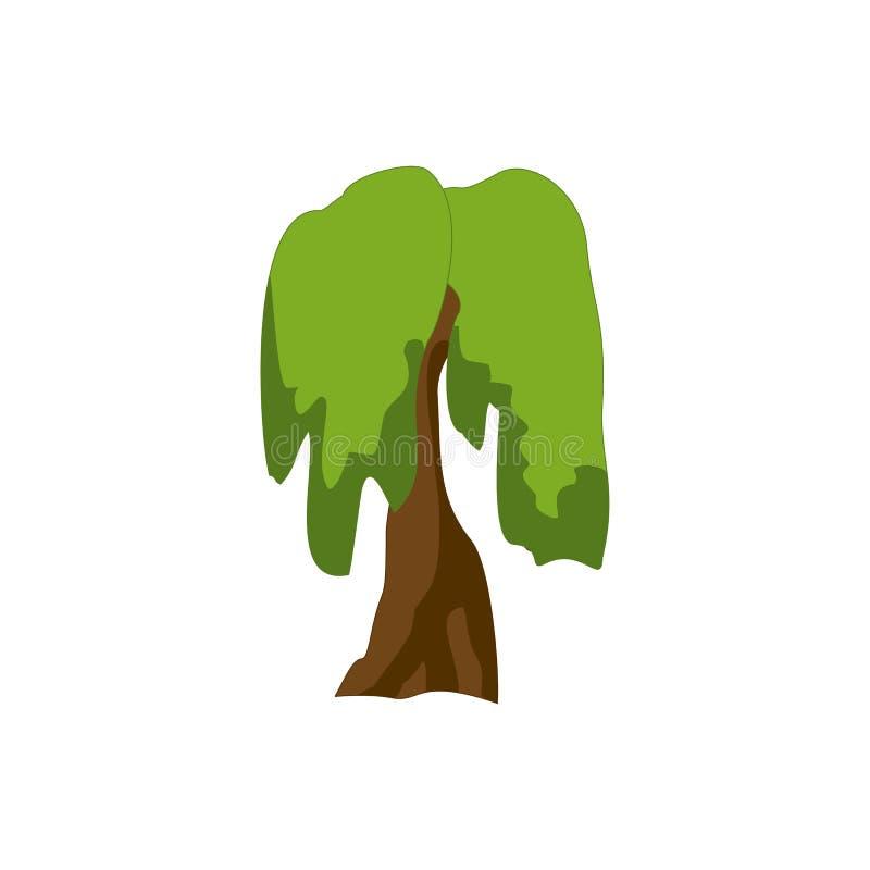Een gestileerde boom met de hand geschilderd met waterverven De vectorillustratie van het beeldverhaal vector illustratie