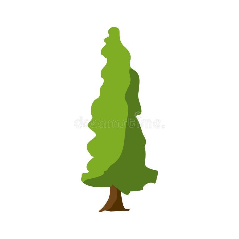 Een gestileerde boom met de hand geschilderd met waterverven De vectorillustratie van het beeldverhaal royalty-vrije illustratie