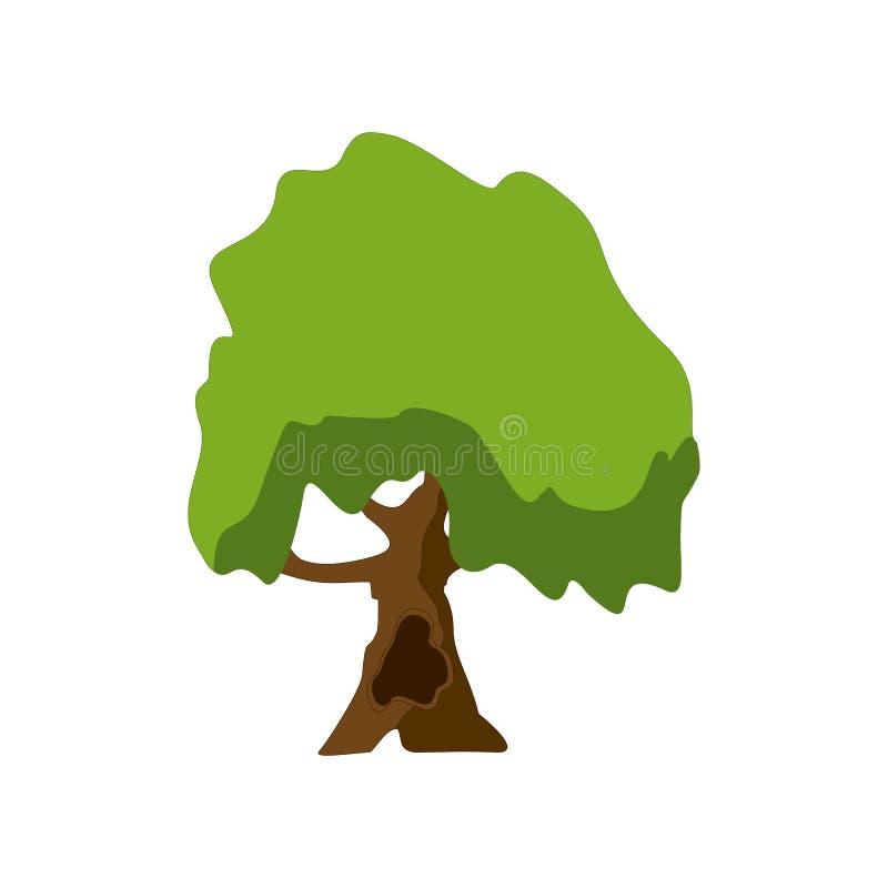 Een gestileerde boom met de hand geschilderd met waterverven De vectorillustratie van het beeldverhaal stock illustratie