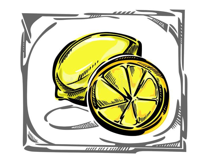 Een gestileerde vectorcitroen in curvy kader royalty-vrije illustratie