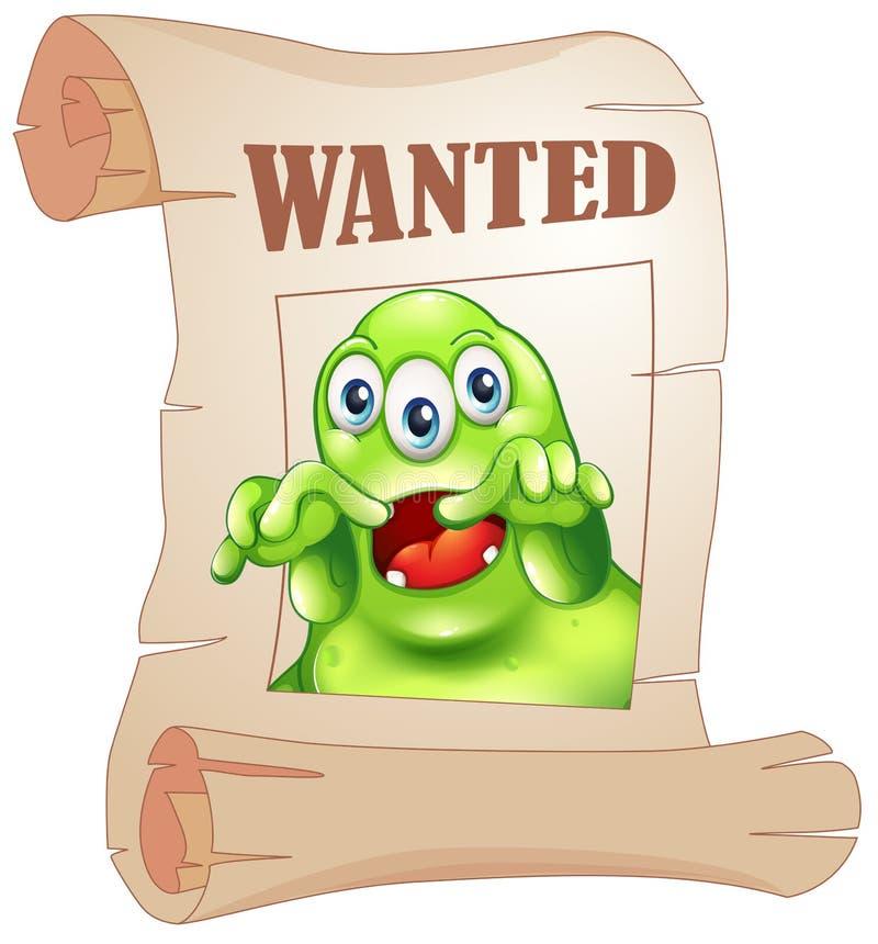 Een gewild drie-eyed monster in een affiche vector illustratie