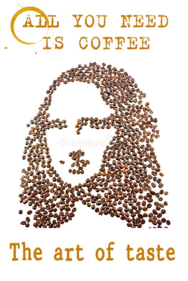 Een gezicht van een jonge vrouw schikte van koffiebonen stock foto