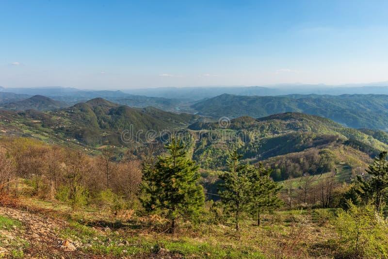 Een gezichtspunt op de berg Jagodnja in Servi? Een mooie mening van Drina River en de aard in westelijk Servi? royalty-vrije stock foto