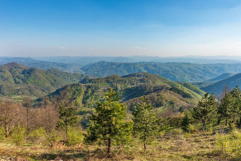 Een gezichtspunt op de berg Jagodnja in Servi? Een mooie mening van Drina River en de aard in westelijk Servi? stock afbeeldingen