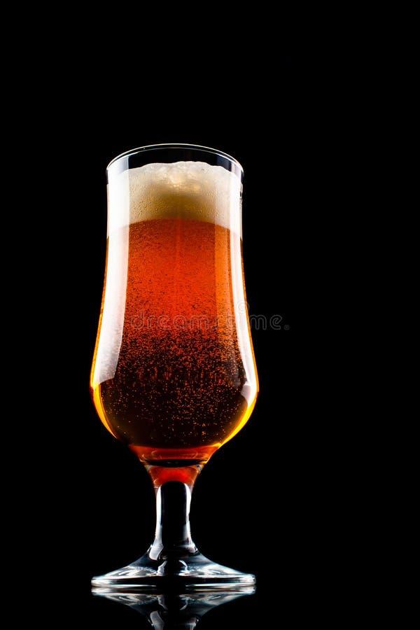Een glas bier met schuimhoed op zwarte achtergrond stock afbeelding