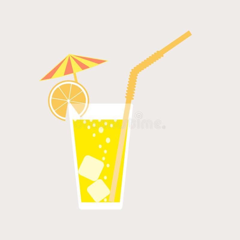 Een glas limonade, een soda met ijs en een cocktailparaplu Citroensap Een glas van citroen of oranje cocktail met stro Vector royalty-vrije illustratie