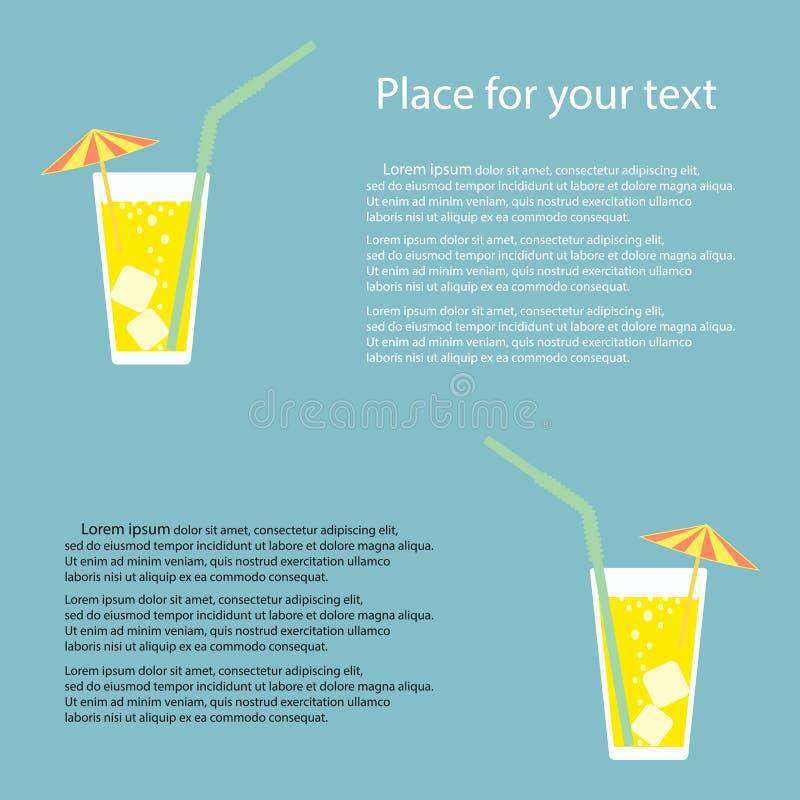 Een glas limonade, een soda met ijs en een cocktailparaplu Citroensap Een glas van citroencocktail met een stro Vector stock illustratie