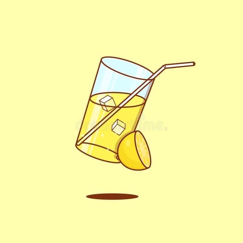 Een glas limonade in vlak overzicht vector illustratie